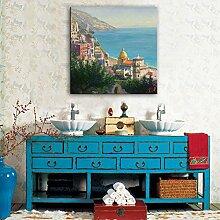 HUA Handgemalten Ölgemälde Meer Städte, einzelne Bilderrahmen, Wohnzimmer-Esszimmer Dekoration Bilder