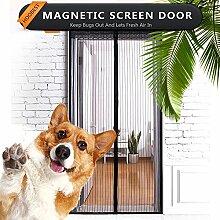 HUABEI Fliegengitter Tür Insektenschutz Vorhänge Magnetvorhang Magnetischer Fliegenvorhang Moskitonetz für, 90 x 210 cm, Schwarz, Ideal für die Balkontür, Kellertür und Terrassentür