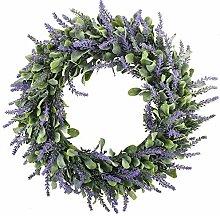 HUAESIN Künstliche Lavendel Kranz Türkranz