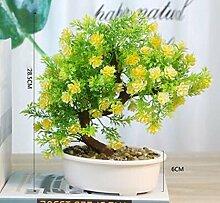 huahongliulv Simulation Welcome Kiefer Bonsai Pflanze Topfpflanzen Dekoration Wohnzimmer Fake Blumen Weihnachtsbaumschmuck Creative grün Pflanzen Dekoration (Pfau Gras) gelb