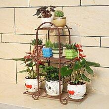 Huajia Balkon Eisen Blumenregal/mehrstöckiges Wohnzimmer Blumenregal/grüne Pflanze Display stehen (größe : 65*21*73cm)