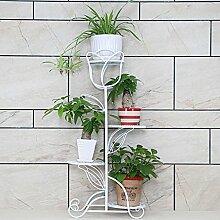 Huajia Europäischen Stil Eisen Kreative Pflanze Stehen Blumentöpfe Regal mehrschichtige Blumenregal Für Balkon Wohnzimmer Indoor (Farbe : Weiß, größe : 40*21*89cm)