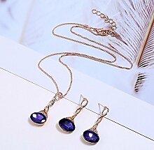 HUALQ Halskette JY5311 Rot Blau Lila Wassertropfen