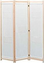 HUANGDANSP 3-teiliger Raumteiler Creme 120 x 170 x