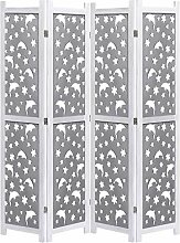HUANGDANSP 4-teiliger Raumteiler Grau 140 x 165 cm