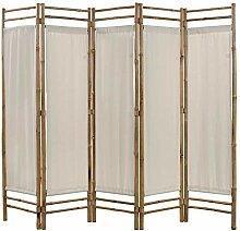 HUANGDANSP 5-teiliger Faltbarer Raumteiler Bambus
