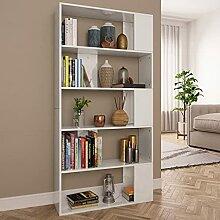 HUANGDANSP Bücherregal/Raumteiler Hochglanz-Weiß