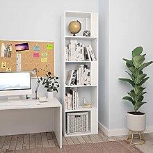 HUANGDANSP Bücherregal/Raumteiler Weiß 45x24x159