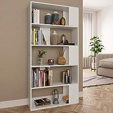 HUANGDANSP Bücherregal/Raumteiler Weiß 80x24x159