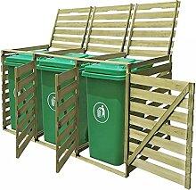HUANGDANSP Mülltonnenbox für 3 Tonnen 240 L