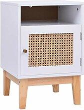 HUANGDANSP Nachttisch Weiß 40x40x61 cm MDF und