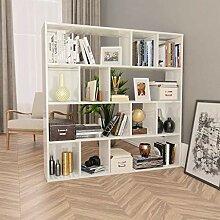 HUANGDANSP Raumteiler/Bücherregal Hochglanz-Weiß