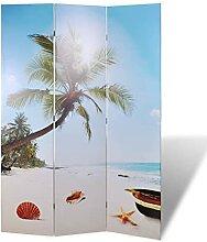 HUANGDANSP Raumteiler klappbar 120 x 170 cm Strand