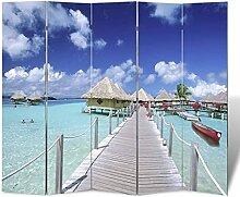 HUANGDANSP Raumteiler klappbar 200 x 170 cm Strand