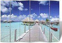 HUANGDANSP Raumteiler klappbar 240 x 170 cm Strand
