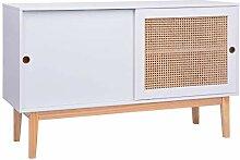 HUANGDANSP Sideboard Weiß 130x40x80 cm MDF und