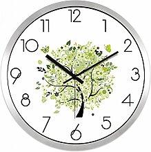HUANGYAHUI Die Uhr Mute Heimtextilien Quarzuhr 10 Zoll 12 Zoll 14 Zoll 14 Zoll Silber Rahmen