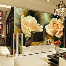 HUANGYAHUI Europäische 3D Wandmalerei Blume Veranda Wohnzimmer TV Hintergrund Tapete nahtlose Vliestapeten Tapete-350 cmX 245 cm