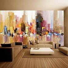 HUANGYAHUI Stadt Abstrakte Ölmalerei Hintergrund Tapete ist geeignet für: Schlafzimmer, Wohnzimmer, Büro, Kinderzimmer, Büro 120 Cmx 100 Cm