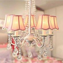 HUANGYAHUI Wandbilder Kinder- Zimmer Ist Klein Mädchen Schlafzimmer Deckenbeleuchtung Garten Koreanisch Prinzessin Europäischen Crystal Warmen Pink Lampe