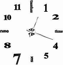 HUANGYAHUI Wanduhr 3D-Diy Wanduhr Uhren Pared Watch Acryl Aufkleber Quarz Home Decoration, Schwarz