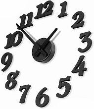 HUANGYAHUI Wanduhr Diy Solide Digitale Zeiger, Uhr, Wecker, Wanduhr, Schwarz