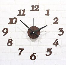 HUANGYAHUI Wanduhr Diy Wooden Wall Clock Deor Decoration Living Room Stickers ,Yellow Wooden