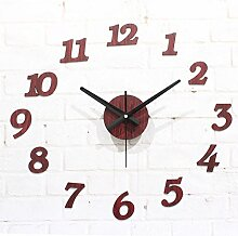 HUANGYAHUI Wanduhr Diy Wooden Wall Clock Deor Decoration Living Room Stickers ,Red Wooden