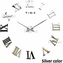 HUANGYAHUI Wanduhr Large Oversized Diy 3D Deco Wall Clock Office Decoration ,Silver
