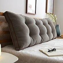 HUANLIN Sofa-Bett Großes gefülltes doppeltes rückseitiges Kissen-Schlafzimmer-Rückenlehnen-Kissen-Lesekissen Lenden-Auflage mit entfernbarem Abdeckung ( Farbe : Grau , größe : 180*50*20cm )