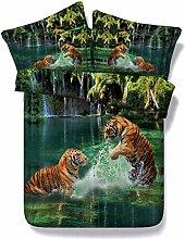 HUANZI 3D Bettbezug Zwei Tiger Muster Digitaldruck