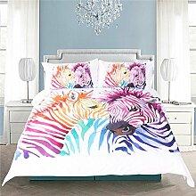 HUANZI Bettbezug Tier Zebra 3D Muster Bettbezug