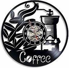 HUARONGYUAN Schallplatte Wanduhr, Kaffee Vinyl