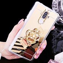 Huawei Honor V8 Hülle,Huawei Honor V8 Schutzhülle,Huawei Honor V8 Case,ikasus® [Bling Glitzer Kristall Strass Diamant Spiegel Hülle] Huawei Honor V8 Silikon Hülle [Glitzer Strass Ring Stand Holder],Glänzend Glitzer Kristall Strass Diamanten Überzug Mirror Spiegel Mit Ring Ständer Halter Stoßdämpfend TPU Silikon Schutz Handy Hülle Case Tasche Silikon Crystal Case Schutzhülle Etui für Huawei Honor V8 - Gold Krone