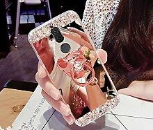 Huawei Mate 10 Lite Hülle,Huawei Mate 10 Lite Schutzhülle,Huawei Mate 10 Lite Case,ikasus® [Bling Glitzer Kristall Strass Diamant Spiegel Hülle] Huawei Mate 10 Lite Silikon Hülle [Überzug BärStand Holder],Glänzend Glitzer Kristall Strass Diamanten Überzug Mirror Spiegel Mit Bär Ständer Halter Stoßdämpfend TPU Silikon Schutz Handy Hülle Case Tasche Silikon Crystal Case Schutzhülle Etui Bumper für Huawei Mate 10 Lite - Rose Gold