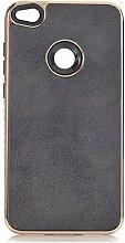 Huawei P10 Schutzhülle , elecfan® Geometrisch Slim Fit Dual Layer Drop Protection Burgund Modern Grip für Huawei P10 Cover (Huawei P10, Schwarz)