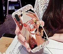 Huawei P20 Hülle,Huawei P20 Schutzhülle,Huawei P20 Case,ikasus® [Bling Glitzer Kristall Strass Diamant Spiegel Hülle] Huawei P20 Silikon Hülle [Überzug BärStand Holder],Glänzend Glitzer Kristall Strass Diamanten Überzug Mirror Spiegel Mit Bär Ständer Halter Stoßdämpfend TPU Silikon Schutz Handy Hülle Case Tasche Silikon Crystal Case Schutzhülle Etui Bumper für Huawei P20 - Rose Gold