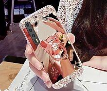 Huawei P20 Pro Hülle,Huawei P20 Pro Schutzhülle,Huawei P20 Pro Case,ikasus® [Bling Glitzer Kristall Strass Diamant Spiegel Hülle] Huawei P20 Pro Silikon Hülle [Überzug BärStand Holder],Glänzend Glitzer Kristall Strass Diamanten Überzug Mirror Spiegel Mit Bär Ständer Halter Stoßdämpfend TPU Silikon Schutz Handy Hülle Case Tasche Silikon Crystal Case Schutzhülle Etui Bumper für Huawei P20 Pro - Rose Gold