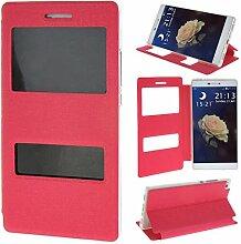 Huawei P8 Bookstyle Tasche, Flip Case für Huawei P8 Leder, Asnlove Cover Ledertasche Etui TPU Silkon Hülle Brieftasche mit Ständer Kartenfächer im View design Schutzhülle Case Ro
