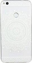 Huawei P8 Lite 2017 Hülle, Asnlove Ultra Dünn TPU Handy Schutzhülle für Huawei Honor 8 Lite Silikon Transparent Weich Handytasche Tasche Schutz Back Cover im Weiß Mandala Muster Design