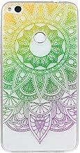 Huawei P8 Lite 2017 Hülle, Asnlove Ultra Dünn TPU Handy Schutzhülle für Huawei Honor 8 Lite Silikon Transparent Weich Handytasche Tasche Schutz Back Cover im Rosa Grün Mandala Muster Design
