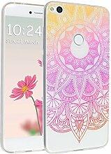 Huawei P8 Lite 2017 Hülle, Asnlove Ultra Dünn TPU Handy Schutzhülle für Huawei Honor 8 Lite Silikon Transparent Weich Handytasche Tasche Schutz Back Cover im Rosa Mandala Muster Design