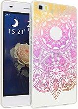 Huawei P8 Lite Hülle, Asnlove Ultra Dünn TPU Handy Schutzhülle für Huawei P8 Lite Silikon Transparent Weich Handytasche Tasche Schutz Back Cover im Rosa Mandala Muster Design