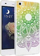 Huawei P8 Lite Hülle, Asnlove Ultra Dünn TPU Handy Schutzhülle für Huawei P8 Lite Silikon Transparent Weich Handytasche Tasche Schutz Back Cover im Rosa Grün Mandala Muster Design