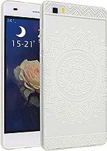 Huawei P8 Lite Hülle, Asnlove Ultra Dünn TPU Handy Schutzhülle für Huawei P8 Lite Silikon Transparent Weich Handytasche Tasche Schutz Back Cover im Weiß Mandala Muster Design