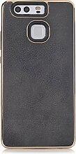 Huawei P9 Schutzhülle , elecfan® Geometrisch Slim Fit Dual Layer Drop Protection Burgund Modern Grip für Huawei P9 Cover (Huawei P9, Schwarz)
