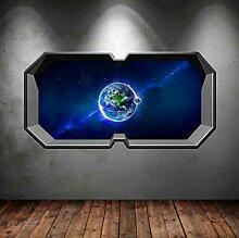 HUAXUE 3D Multicolor Space Planet Fenster