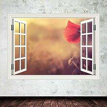 HUAXUE Blumenfenster Wandkunst Aufkleber Aufkleber