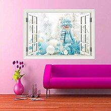 HUAXUE Full Color Schneemann Fenster Wandkunst