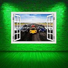 HUAXUE Rennwagen Fenster vollfarbige Wandkunst